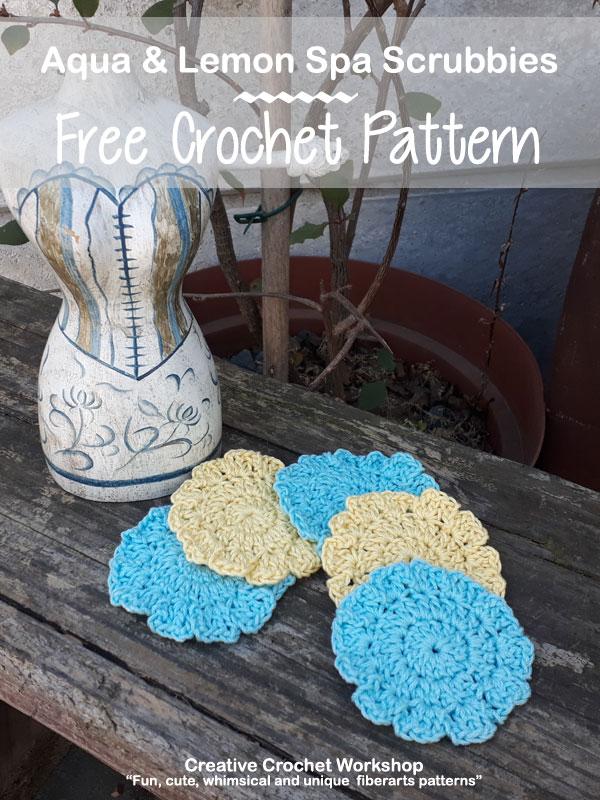 Aqua & Lemon Spa Scrubbies - Free Crochet Pattern | American Crochet @creativecrochetworkshop #crochet #freecrochetpattern #spacrochetgiftalong