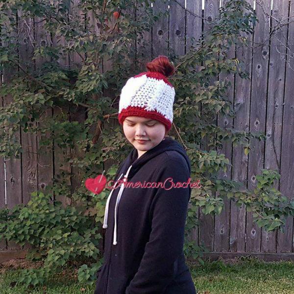 White Berry Cable Messy Bun Hat | Free Crochet Pattern | American Crochet @americancrochet.com #crochetpattern