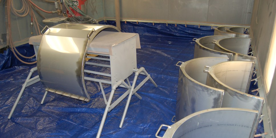 Industrial Blasting in Large Booth at American Dry Stripping