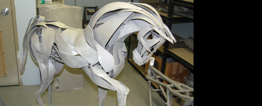 Horse sculpture stripped down to the bare metal