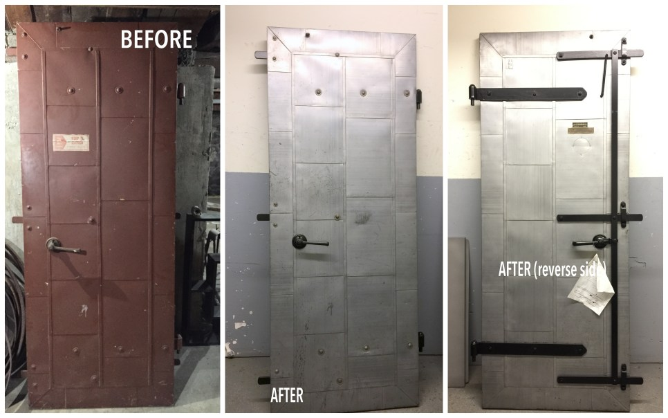 Vintage Fire Door Made in Kansas City After Powder Coating Xtreme Temperature coatings CT