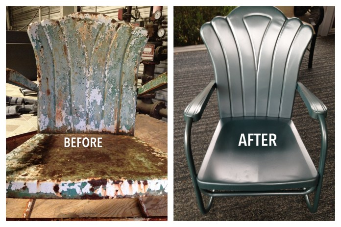 Repainting vintage patio furniture powder coat