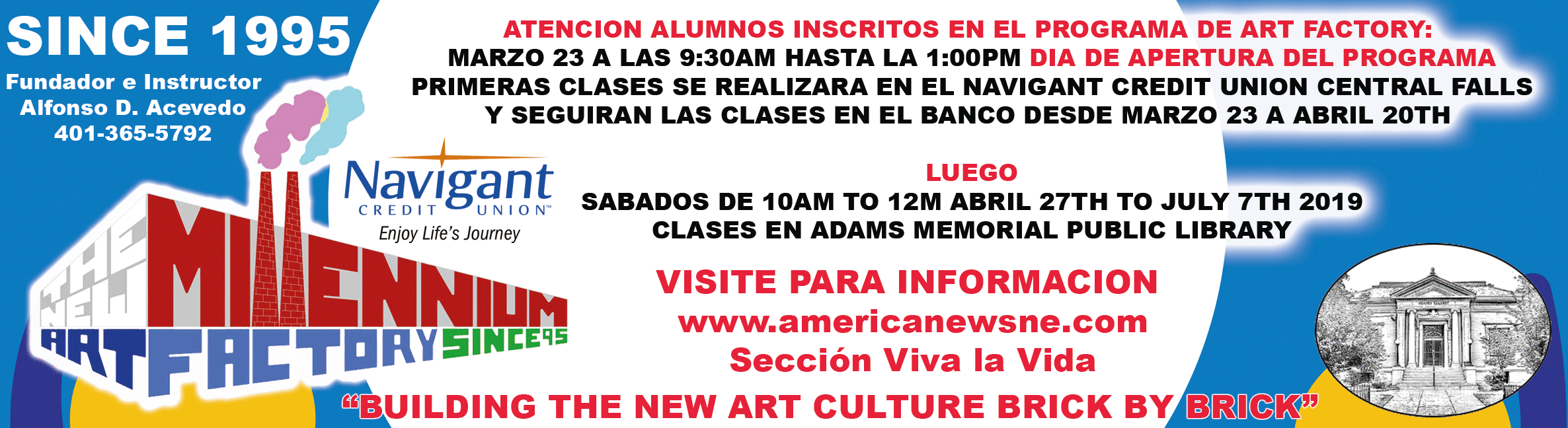 Art classes at the New Millennium Art Factory begin soon!