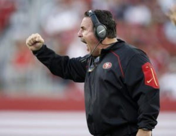 San Francisco 49ers head coach Jim Tomsula yells at his team during their game against the Dallas Cowboys in the fourth quarter of their NFL preseason game at Levi's Stadium in Santa Clara, Calif., on Sunday, Aug. 23, 2015.  (Nhat V. Meyer/Bay Area News Group)