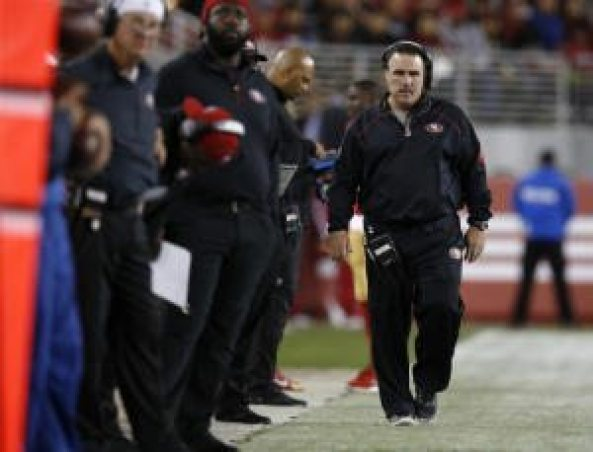 San Francisco 49ers head coach Jim Tomsula walks on the sidelines during their game against the San Diego Chargers in the third quarter of their NFL preseason game at Levi's Stadium in Santa Clara, Calif., on Thursday, Sept. 3, 2015.  (Nhat V. Meyer/Bay Area News Group)