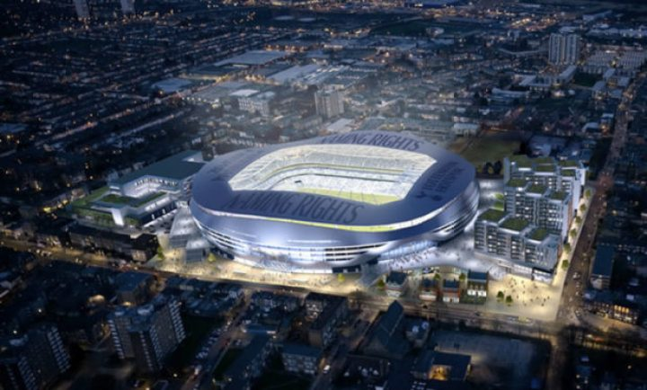 Spurs stadium night aeriel view