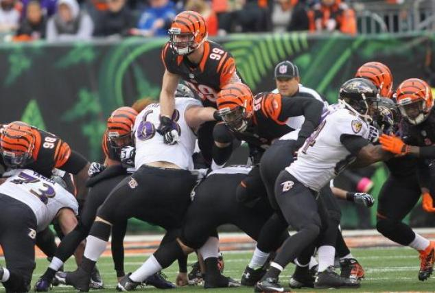 CINCINNATI, OH - DECEMBER 29:  Margus Hunt #99 of the Cincinnati Bengals rushes the quarterback during the game against the Baltimore Ravens at Paul Brown Stadium on December 29, 2013 in Cincinnati, Ohio.  (Photo by John Grieshop/Getty Images)