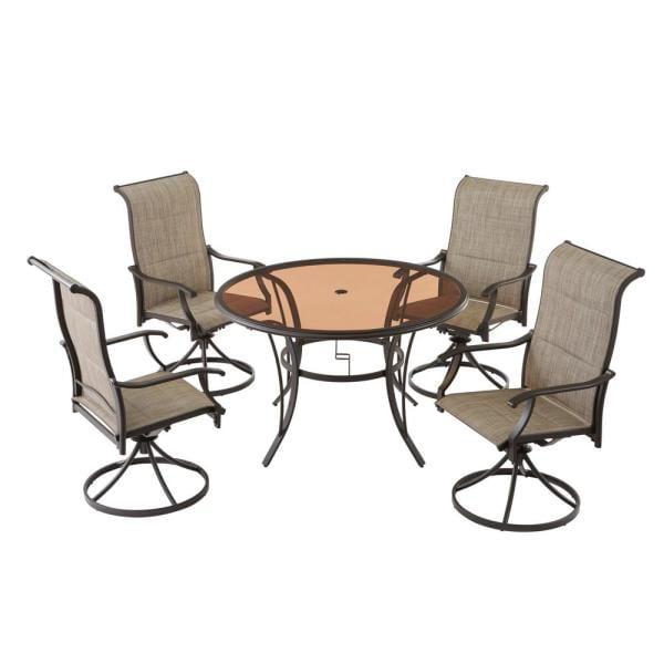 hampton bay riverbrook espresso brown 5 piece steel outdoor patio set