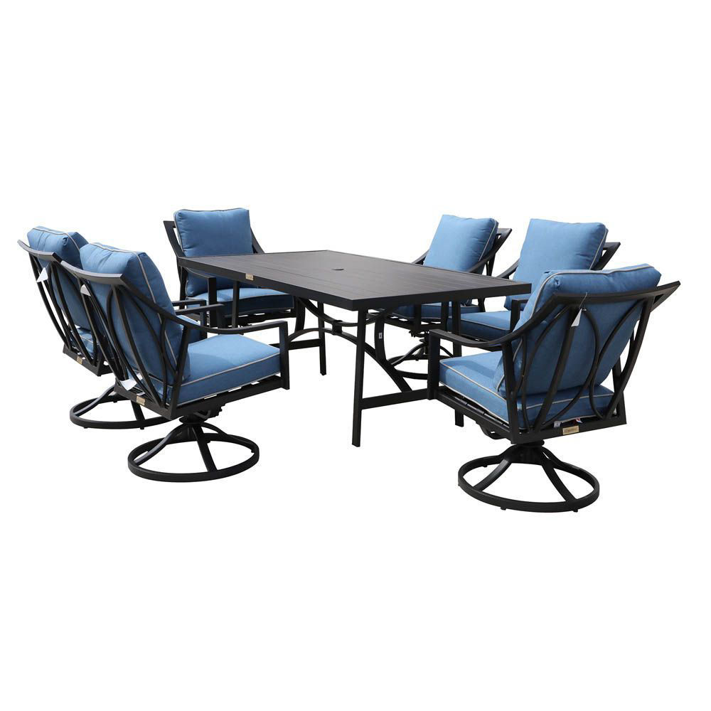 geneva outdoor 7 piece dining set with six swivel chairs