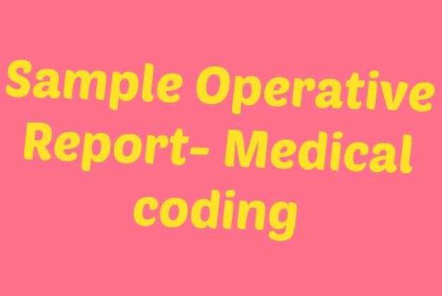 Medical coding sample operative report