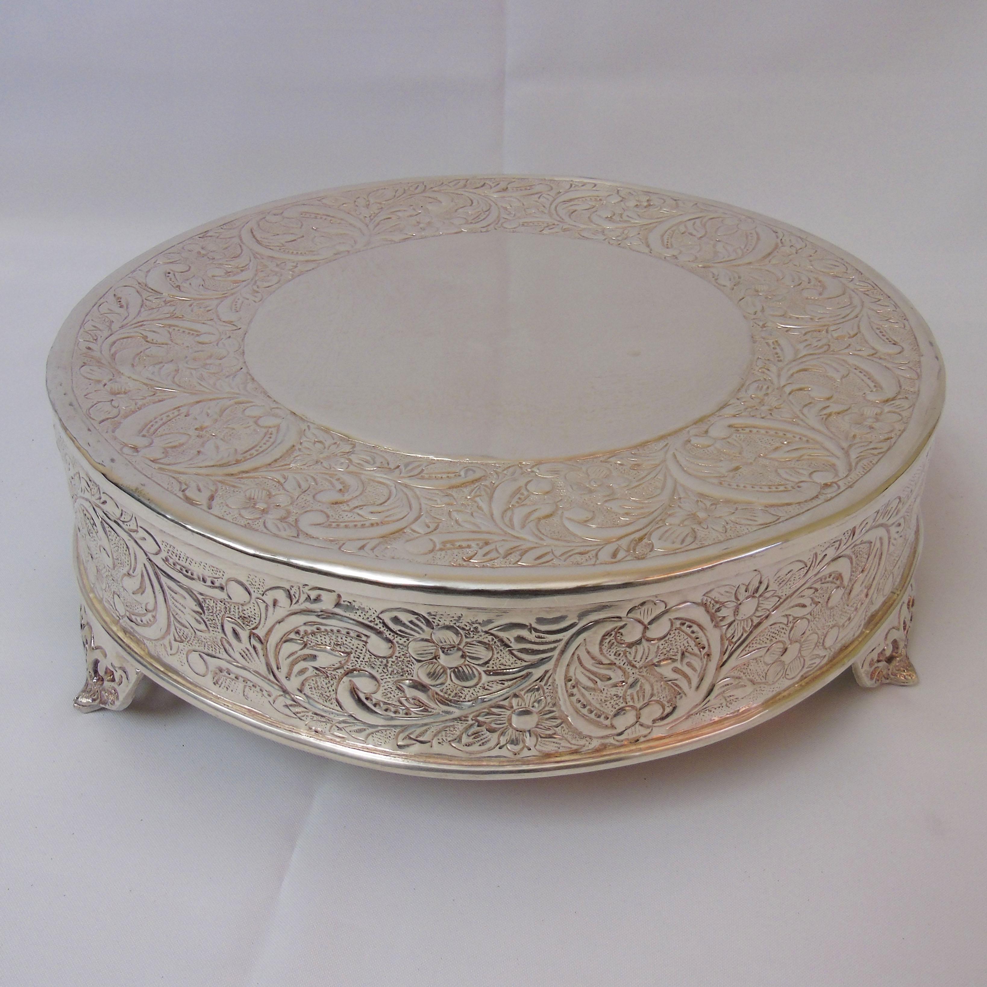 Round Silver Cake Pedestal