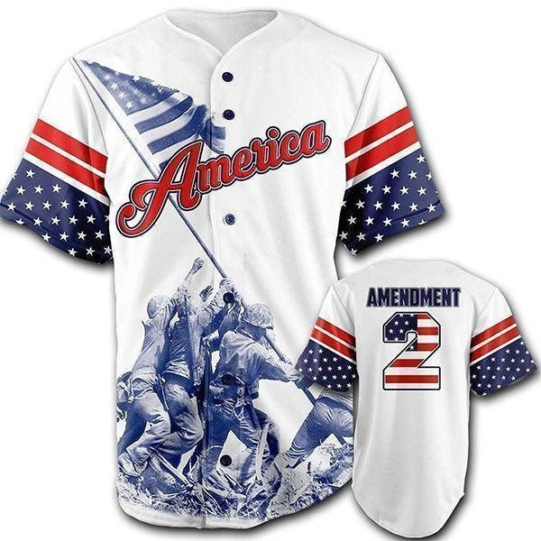 Team America 2nd Amendment Baseball Jersey Main Image for American Patriots Apparel