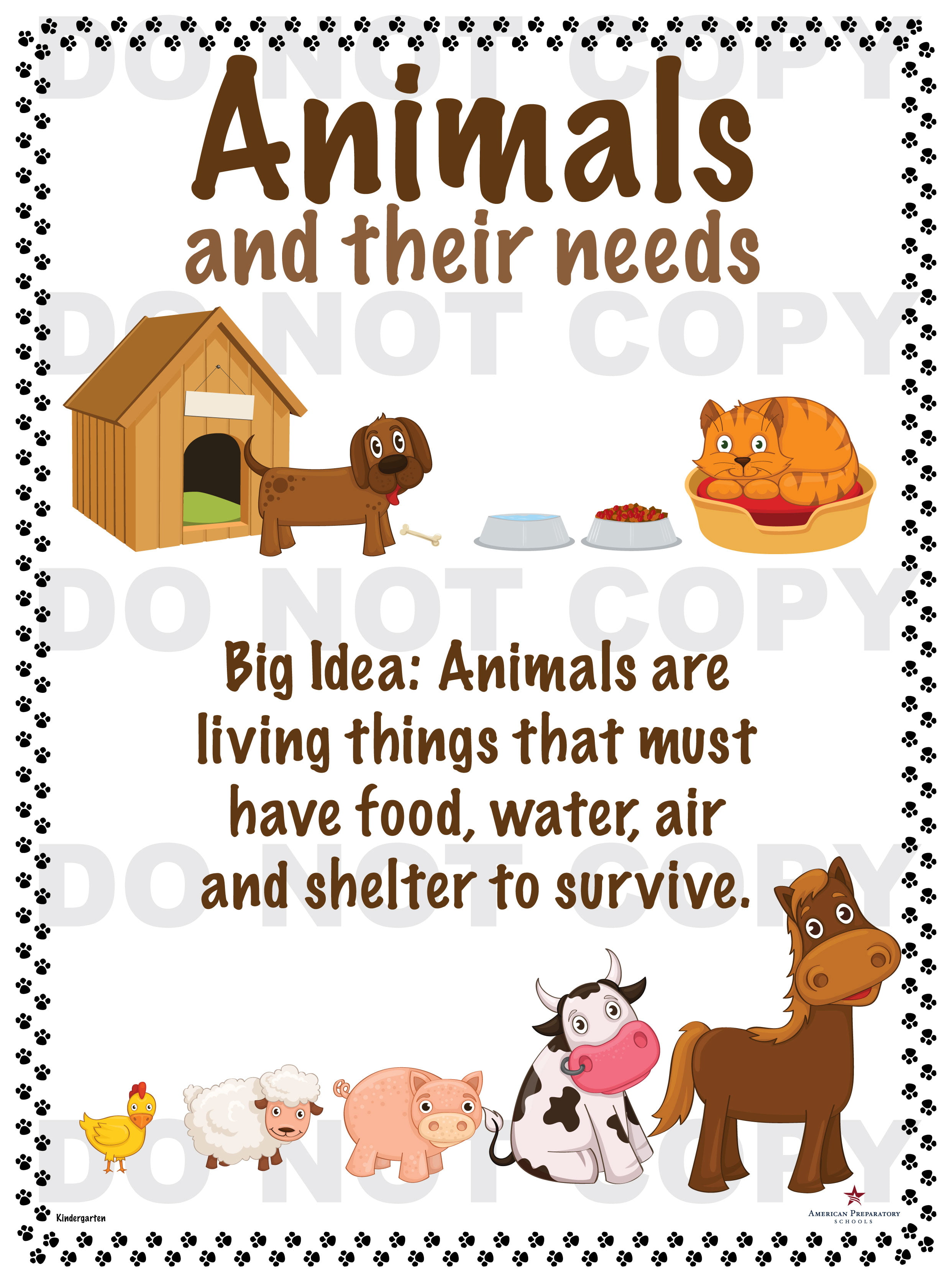 Animals And Their Needs Kindergarten