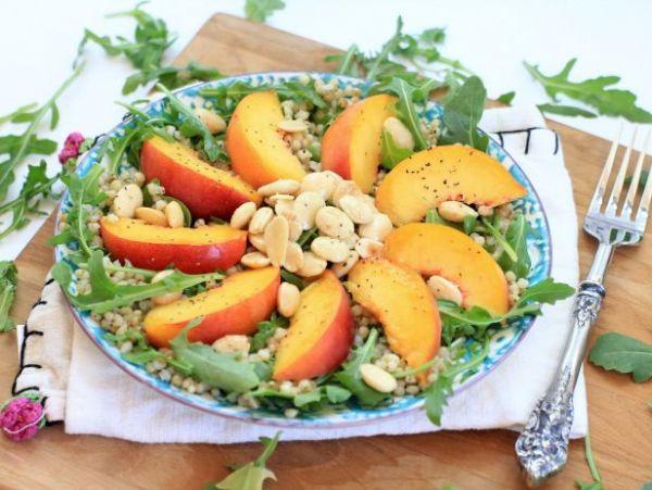 Arugula Salad with Peaches, Sorghum, Almonds and Lemon-Honey Vinaigrette