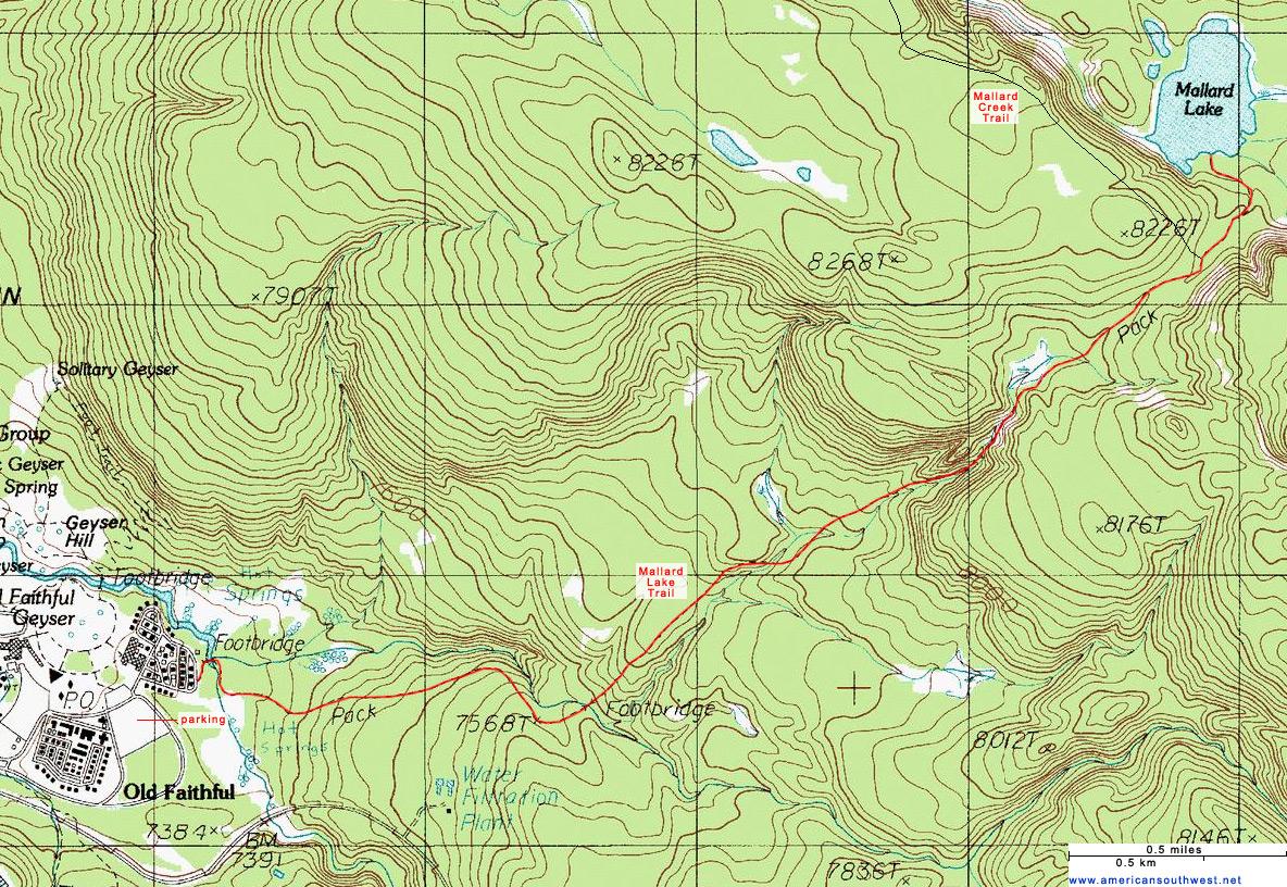 Topographic Map Of The Mallard Lake Trail Yellowstone National Park Wyoming