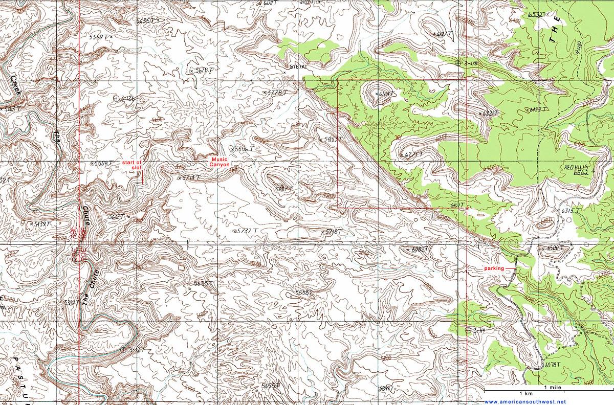 Topographic Map Of Music Canyon San Rafael Swell Utah