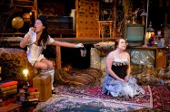 """Kathryn Fumie and Adelin Phelps in """"An Outopia for Pigeons"""" at Swandive Theatre. (Photo by Joan Banick)"""