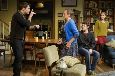 "James Caverly, Anita Carey, Dan Clegg and Elizabeth Morton in ""Tribes"" at Berkeley Rep. (Photo courtesy of mellopix.com)"
