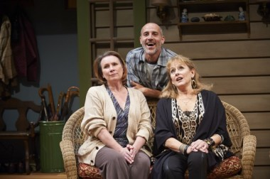 """Sheila McKenna, Harry Bouvy and Helena Ruoti in """"Vanya and Sonia and Masha and Spike"""" at the City Theatre of Pittsburgh (photo by Alex Jones)"""