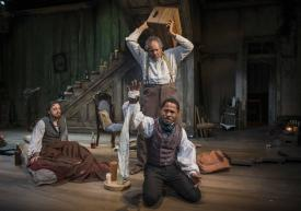 """Josh Landay, James Craven and Ro Boddie in Milwaukee Repertory Theater's production of """"The Whipping Man"""" by Matthew Lopez. (Photo credit by Michael Brosilow)"""
