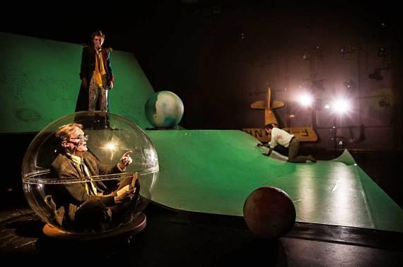 "Raymond Fox, Amelia Hefferon and Ian Barford in ""The Little Prince"" at Lookingglass Theatre. (Photo by Liz Lauren)"
