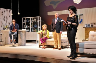 """Christopher M. Smith, Karen MacDonald, Munson Hicks, and Anne Gottlieb in """"Other Desert Cities"""" at SpeakEasy Stage Company (photo by Craig Bailey/Perspective Photo)"""