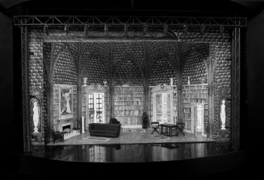 """""""Dracula,"""" at the Alley Theatre in Houston through Nov. 2, features the designs of illustrator Edward Gorey, as in this set for Act One (photo by Mike McCormick)"""