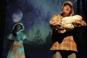 """""""Melissa Arctic,"""" a play with songs by Craig Wright, running at The Road Theatre Company in North Hollywood, Ca. through Nov. 15; with Alexa Hodzic and Joe Hart (photo by Deverill Weekes)"""
