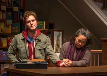 """""""after all the terrible things i do"""" by A. Rey Pamatmat, at Milwaukee Repertory Theatre through Nov. 9; pictured: Mark Junek and Sophia Skiles (photo by Michael Brosilow)"""