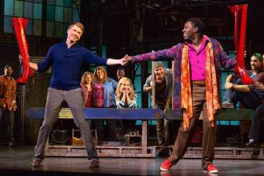 """""""Kinky Boots"""" at Denver Center for the Performing Arts' Buell Theatre through Nov. 9; pictured: Steven Booth, Kyle Taylor Parker and the cast (photo by Matthew Murphy)"""