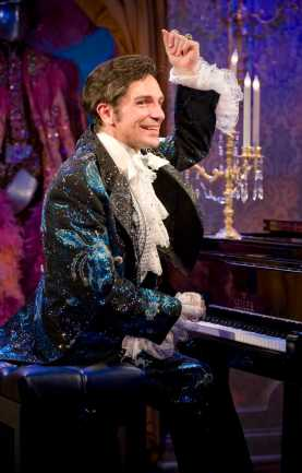 """""""Liberace!"""" by Brent Hazleton, at Milwaukee Repertory Theater through Jan. 11, 2015; pictured: Jack Wilson Forbes (photo by Michael Brosilow)"""