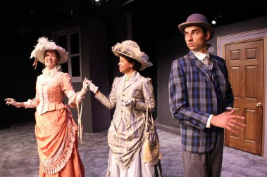 """""""On the Razzle"""" by Tom Stoppard, at Theatre West in Los Angeles through Nov. 2; pictured: Maria Kress, Cathy Diane Tomlin and Joey Jennings (photo by Charlie Mount)"""