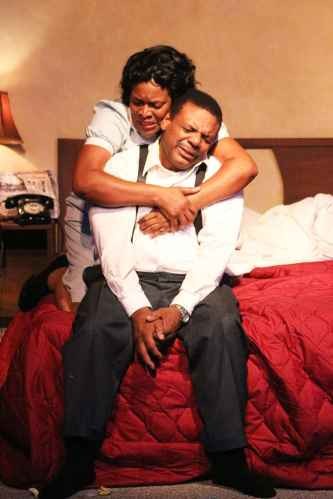 """""""The Mountaintop"""" by Katori Hall, at the Lake Dillon Theatre in Dillon, Colo., in 2014. Pictured: Kim Staunton and Harvy Blanks. (Photo by Christopher Alleman)"""