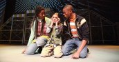 """A Wrinkle in Time,"" adapted by John Glore from the novel by Madeleine L'Engle, at the Rose Theatre in Omaha, Neb. through Nov. 16; pictured: Imani Vaughn-Jones, Chloe Irwin and Justice Jamaal Jones"