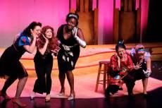 """Disenchanted!"" at the Illusion Theater in Minneapolis through Nov. 23; pictured: Jen Burleigh-Bentz, Kim Kivens, Joy Dolo, Stephanie Bertuman and Bonni Allen (photo by James Detmar)"