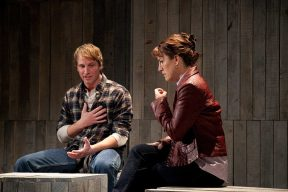 """""""Dusk Rings a Bell"""" by Stephen Belber, at Merrimack Repertory Theatre in Lowell, Ma. through Nov. 16; pictured: Todd Lawson and D'Arcy Dersham (photo by Meghan Moore)"""