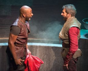 """""""Julius Caesar"""" by William Shakespeare, at the Folger Theatre in Washington, D.C. through Dec. 7. Pictured: Maurice Jones and Michael Sharon. (Photo by Jeff Malet)"""