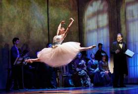 """""""Little Dancer"""" by Lynn Ahrens and Stephen Flaherty, running at Kennedy Center for the Performing Arts in Washington, D.C. through Nov. 30. Pictured: Tiler Peck, Boyd Gaines and company. (Photo by Paul Kolnik)"""