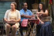 """""""Pitbulls"""" by Keith Josef Adkins, at the Rattlestick Playwrights Theater in New York City through Dec. 13. Pictured: Donna Duplantier, Nathan Hinton and Yvette Ganier. (Photo by Monica Simoes)"""