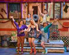 """""""The Great American Trailer Park Christmas Musical"""" by David Nehls and Betsy Kelso, at WaterTower Theatre in Addison, Tex. through Jan. 4. Pictured: Front row, Sara Shelby-Martin, Cara Statham Serber and Megan Kelly Bates; back row, Amanda Passanante and Tony Daussat. (Photo by Karen Almond Photography)"""