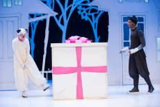"""""""The Gift of Nothing,"""" adapted by Patrick McDonnell, Aaron Posner and Erin Weaver from McDonnell's comic strip, at Kennedy Center's Family Theater in Washington, D.C. through Dec. 28. Pictured: Maggie Donnelly and Mooch Nickolas Vaughan. (Photo by Scott Suchman)"""