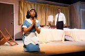 """""""The Mountaintop"""" by Katori Hall, a production of Kenny Leon's True Colors Theatre Company in Atlanta in 2012. Pictured: Demetria Mckinney and Danny Johnson with photo by Josh Lamkin Photography."""