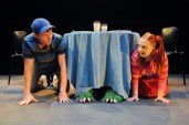 """The Boy Who Loved Monsters and the Girl Who Loved Peas"" by Jonathan Graham, at Childsplay in Tempe, Ariz., through Mar. 8. Pictured: Tyler Eglen and Michelle Cunneen. (Photo by Tim Trumble)"