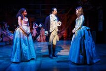 """Hamilton"" by Lin-Manuel Miranda, at The Public Theater in New York City through Apr. 5. Pictured: Renee Elise Goldsberry, Lin-Manuel Miranda and Phillipa Soo. (Photo by Joan Marcus)"