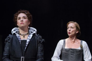 """Mary Stuart"" by Friedrich Schiller, in a new version by Peter Oswald, at the Folger Elizabethan Theatre in Washington, D.C. through Mar. 8. Pictured: Holly Twyford and Kate Eastwood Norris. (Photo by Teresa Wood)"