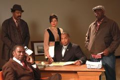 """""""Radio Golf"""" by August Wilson, at the American Stage Theatre in St. Petersburg, Fla., through Feb. 22. Pictured: Kim Sullivan, Back: Anthony Chisholm, Chrystal Bates, Alan Bomar Jones and """"ranney."""" (Photos by Chad Jacobs)"""