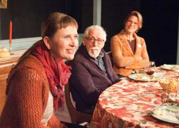 """That Hopey Changey Thing"" by Richard Nelson, Part 1 of Richard Nelson's ""The Apple Family Plays,"" presented on an alternating schedule with Part 3, ""Sorry,"" at the Timeline Theatre in Chicago through Apr. 19. Pictured: Mechelle Moe, Mike Nussbaum and Juliet Hart. (Photo by Lara Goetsch)"