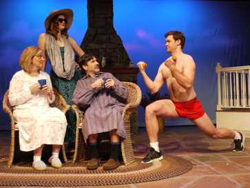 """""""Vanya and Sonia and Masha and Spike"""" by Christopher Durang, at the Public Theatre in Lewiston, Me., through Feb. 1. Pictured: Janet Mitchko, Robyne Parrish, Jonathan Hadley and Jarid Faubel."""