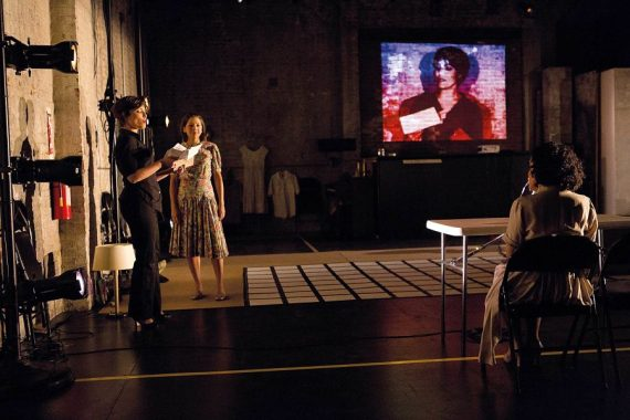 """""""Zoetrope Part 1"""" by Javier Antonio Gonzalez, a Caborca Theatre production at Pregones Theatre in the Bronx, NYC, through Jan. 25. Pictured: Tania Molina, Laura Butler Rivera and Yaremis Felix Colon. (Photo by Hunter Canning)"""