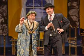 """The King of Second Avenue"" by Robert Brustein, adapted from Israel Zangwill, at New Repertory Theatre in Watertown, Conn., through Mar. 8. Pictured: Will LeBow and Jeremiah Kissel. (Photo by Andrew Brilliant/Brilliant Pictures)"